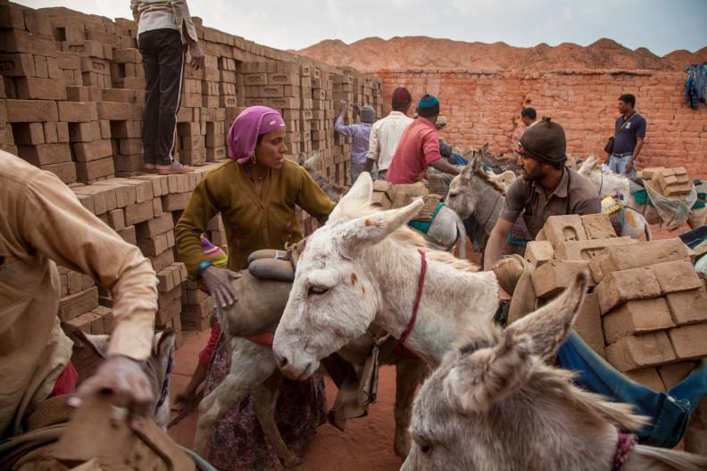 M.A Ambabur Kiln, Ahmedabad.Jamuna unloading the donkeys and building the kiln.Modern India is built on the backs of donkeys.