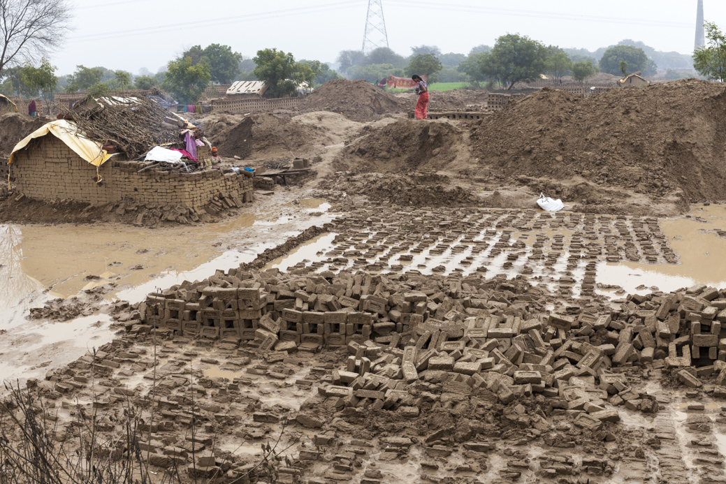 Flooded brick kilns in Rajakhera near Agra, Uttar Pradesh, India.