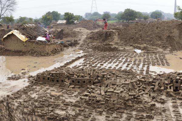 Flooded brick kilns in Rajakhera near Agra, Uttar Pradesh, India.