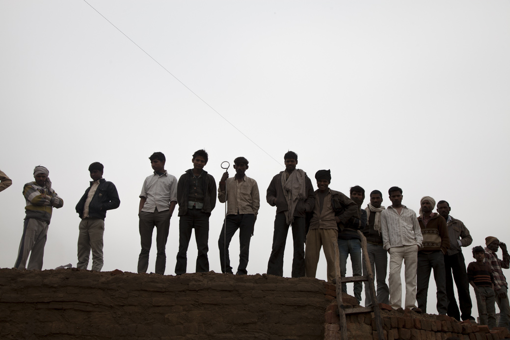 The RAJ brick kiln in Rajakhera near Agra, Uttar Pradesh, India. Brick makers face unemployment until the RAJ kiln dries out.