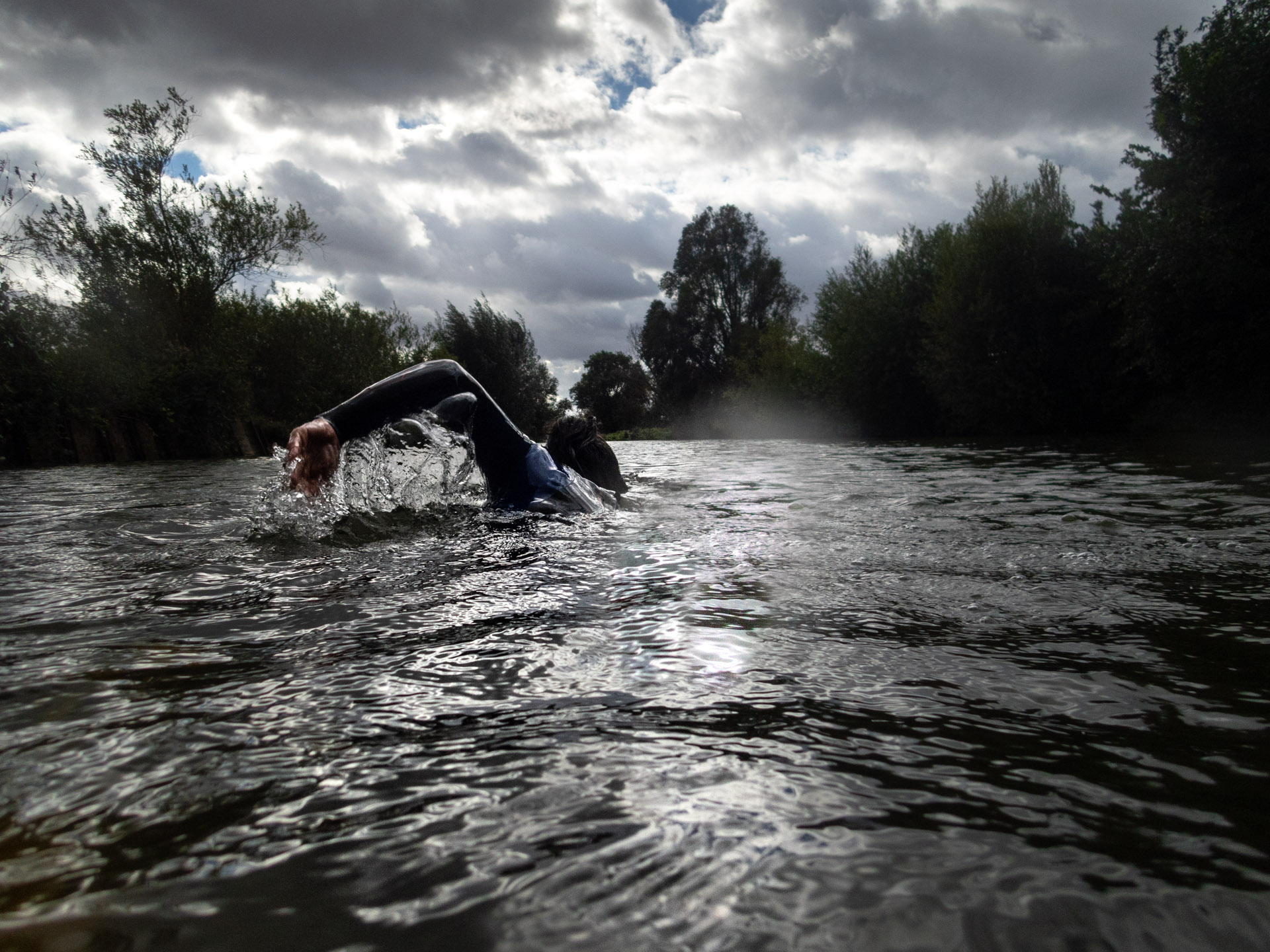 Swimming in the river Cam, Cambridge.