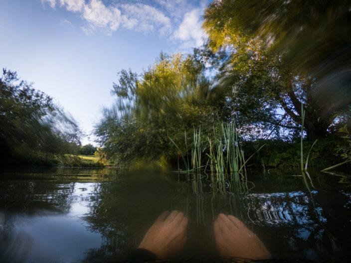 Swimming in the river Cam, Cambridge.