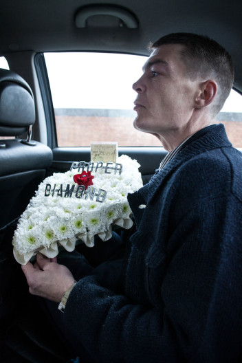 Mourner at funeral of Danny Woollard, East End gangster