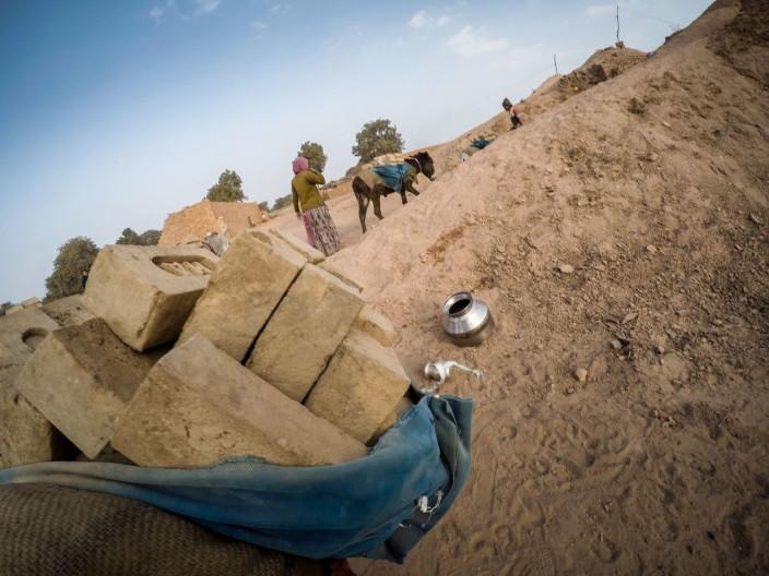 Brick kiln Gujarat India donkey