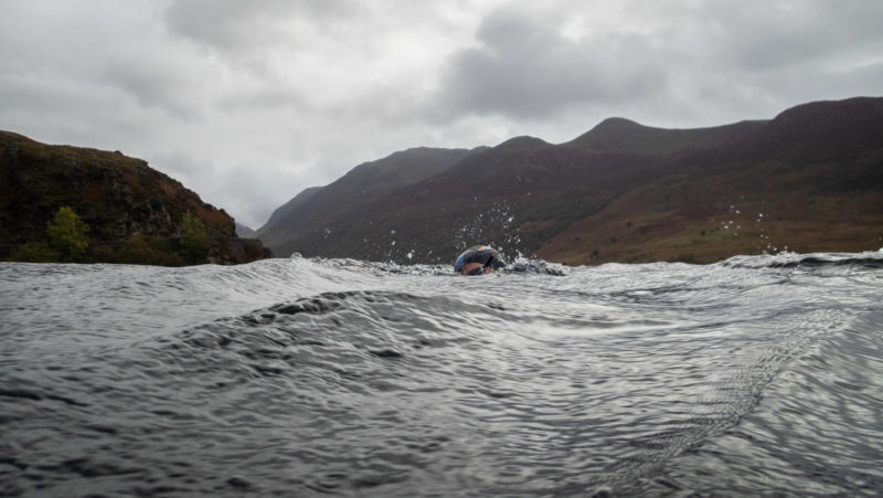 Swimming in Crummock Water, Cumbria.